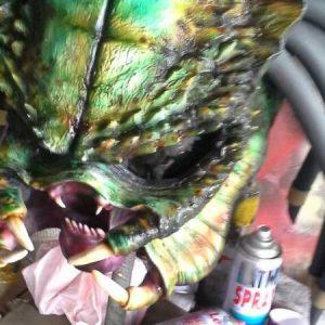 Green Predator Face Motorcycle Helmet